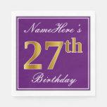 [ Thumbnail: Elegant Purple, Faux Gold 27th Birthday + Name Napkin ]