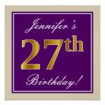 [ Thumbnail: Elegant, Purple, Faux Gold 27th Birthday + Name Poster ]