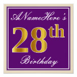 [ Thumbnail: Elegant, Purple, Faux Gold 28th Birthday + Name Invitation ]