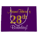 [ Thumbnail: Elegant, Purple, Faux Gold 28th Birthday + Name Gift Bag ]