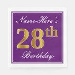 [ Thumbnail: Elegant Purple, Faux Gold 28th Birthday + Name Napkin ]