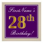 [ Thumbnail: Elegant, Purple, Faux Gold 28th Birthday + Name Poster ]