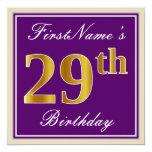 [ Thumbnail: Elegant, Purple, Faux Gold 29th Birthday + Name Invitation ]