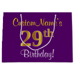 [ Thumbnail: Elegant, Purple, Faux Gold 29th Birthday + Name Gift Bag ]
