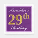 [ Thumbnail: Elegant Purple, Faux Gold 29th Birthday + Name Napkin ]