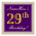 [ Thumbnail: Elegant, Purple, Faux Gold 29th Birthday + Name Poster ]