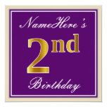 [ Thumbnail: Elegant, Purple, Faux Gold 2nd Birthday + Name Invitation ]