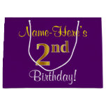 [ Thumbnail: Elegant, Purple, Faux Gold 2nd Birthday + Name Gift Bag ]