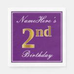 [ Thumbnail: Elegant Purple, Faux Gold 2nd Birthday + Name Napkin ]
