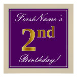 [ Thumbnail: Elegant, Purple, Faux Gold 2nd Birthday + Name Poster ]