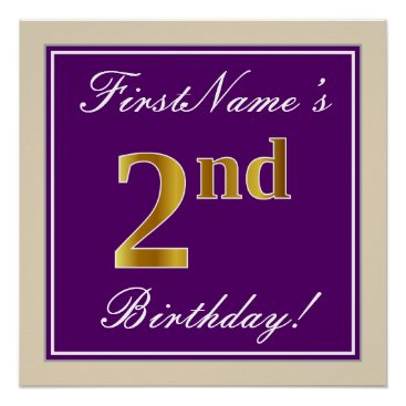 Art Themed Elegant, Purple, Faux Gold 2nd Birthday   Name Poster