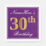 [ Thumbnail: Elegant Purple, Faux Gold 30th Birthday + Name Napkin ]