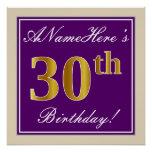 [ Thumbnail: Elegant, Purple, Faux Gold 30th Birthday + Name Poster ]