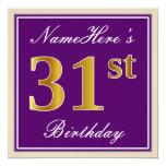 [ Thumbnail: Elegant, Purple, Faux Gold 31st Birthday + Name Invitation ]
