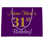 [ Thumbnail: Elegant, Purple, Faux Gold 31st Birthday + Name Gift Bag ]