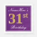 [ Thumbnail: Elegant Purple, Faux Gold 31st Birthday + Name Napkin ]