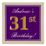 [ Thumbnail: Elegant, Purple, Faux Gold 31st Birthday + Name Poster ]
