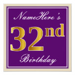 [ Thumbnail: Elegant, Purple, Faux Gold 32nd Birthday + Name Invitation ]