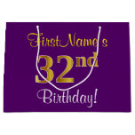 [ Thumbnail: Elegant, Purple, Faux Gold 32nd Birthday + Name Gift Bag ]