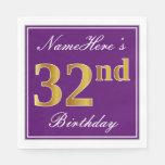 [ Thumbnail: Elegant Purple, Faux Gold 32nd Birthday + Name Napkin ]