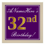 [ Thumbnail: Elegant, Purple, Faux Gold 32nd Birthday + Name Poster ]