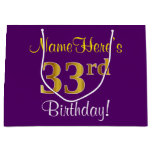 [ Thumbnail: Elegant, Purple, Faux Gold 33rd Birthday + Name Gift Bag ]