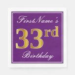 [ Thumbnail: Elegant Purple, Faux Gold 33rd Birthday + Name Napkin ]