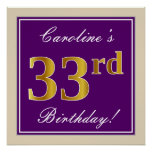 [ Thumbnail: Elegant, Purple, Faux Gold 33rd Birthday + Name Poster ]