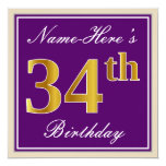 [ Thumbnail: Elegant, Purple, Faux Gold 34th Birthday + Name Invitation ]