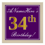[ Thumbnail: Elegant, Purple, Faux Gold 34th Birthday + Name Poster ]