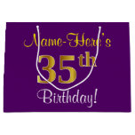 [ Thumbnail: Elegant, Purple, Faux Gold 35th Birthday + Name Gift Bag ]