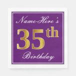 [ Thumbnail: Elegant Purple, Faux Gold 35th Birthday + Name Paper Napkin ]
