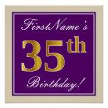 [ Thumbnail: Elegant, Purple, Faux Gold 35th Birthday + Name Poster ]
