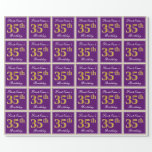[ Thumbnail: Elegant, Purple, Faux Gold 35th Birthday + Name Wrapping Paper ]
