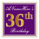 [ Thumbnail: Elegant, Purple, Faux Gold 36th Birthday + Name Invitation ]