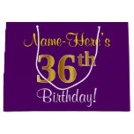 [ Thumbnail: Elegant, Purple, Faux Gold 36th Birthday + Name Gift Bag ]