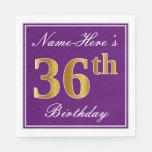[ Thumbnail: Elegant Purple, Faux Gold 36th Birthday + Name Napkin ]