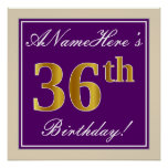 [ Thumbnail: Elegant, Purple, Faux Gold 36th Birthday + Name Poster ]