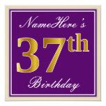 [ Thumbnail: Elegant, Purple, Faux Gold 37th Birthday + Name Invitation ]
