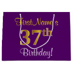 [ Thumbnail: Elegant, Purple, Faux Gold 37th Birthday + Name Gift Bag ]