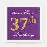 [ Thumbnail: Elegant Purple, Faux Gold 37th Birthday + Name Napkin ]