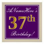 [ Thumbnail: Elegant, Purple, Faux Gold 37th Birthday + Name Poster ]