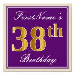[ Thumbnail: Elegant, Purple, Faux Gold 38th Birthday + Name Invitation ]