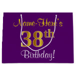 [ Thumbnail: Elegant, Purple, Faux Gold 38th Birthday + Name Gift Bag ]