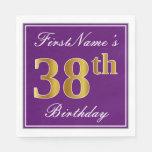 [ Thumbnail: Elegant Purple, Faux Gold 38th Birthday + Name Napkin ]
