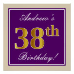 [ Thumbnail: Elegant, Purple, Faux Gold 38th Birthday + Name Poster ]
