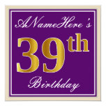 [ Thumbnail: Elegant, Purple, Faux Gold 39th Birthday + Name Invitation ]