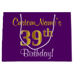 [ Thumbnail: Elegant, Purple, Faux Gold 39th Birthday + Name Gift Bag ]