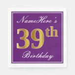 [ Thumbnail: Elegant Purple, Faux Gold 39th Birthday + Name Napkin ]