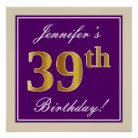 [ Thumbnail: Elegant, Purple, Faux Gold 39th Birthday + Name Poster ]